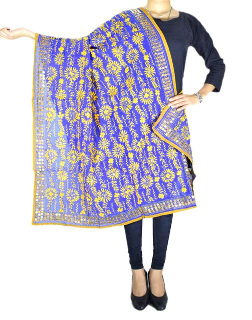 Phulkari Dupatta on Chanderi Fabric -Yellow&Blue