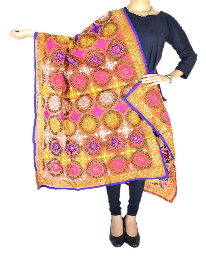 Phulkari Dupatta on Chanderi Fabric -Orange