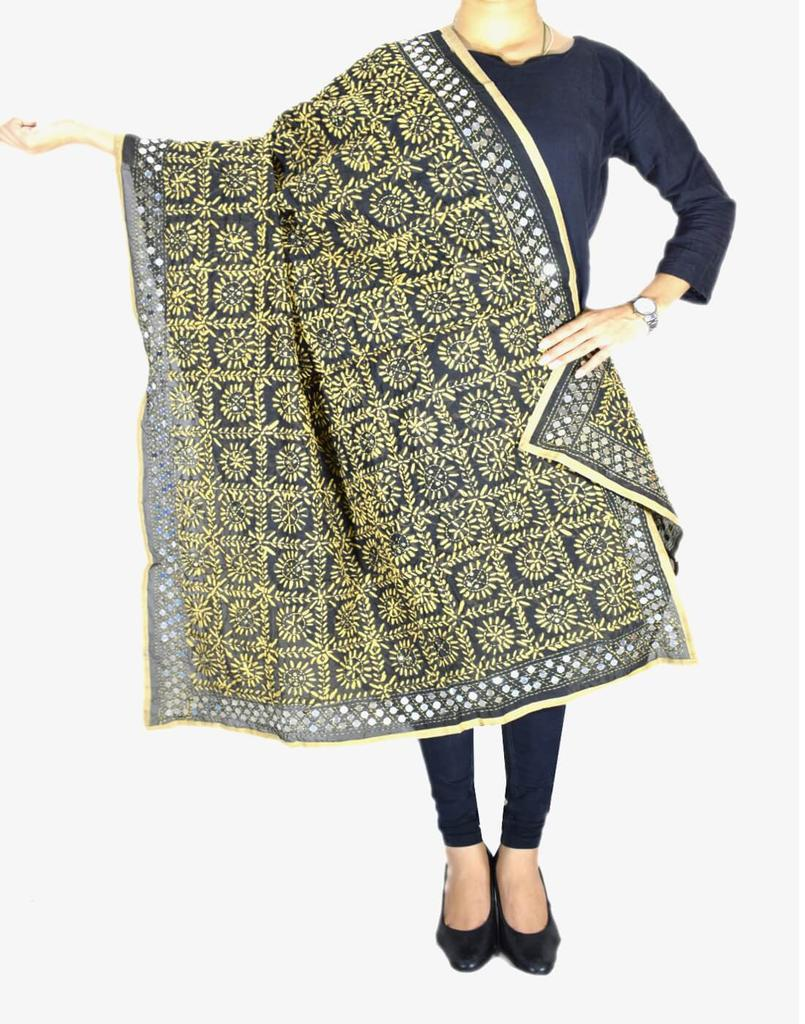 Phulkari Dupatta on Chanderi Fabric -Black&Beige