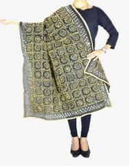Phulkari Dupatta on Chanderi Fabric -Black&Beige