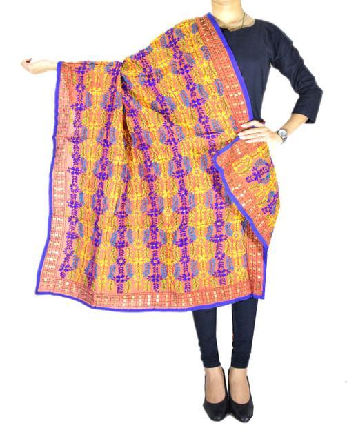 Phulkari Dupatta on Chanderi Fabric -Orange 1