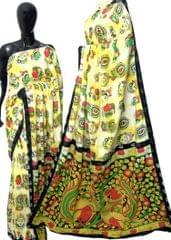 Kalamkari Saree in Mal Cotton with Istch Border- Mask Pattern Offwhite & Yellow