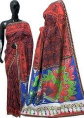 Blockprint Saree in Mal Cotton with Kalamkari Pallu & Istch Border- Floral Pattern Red