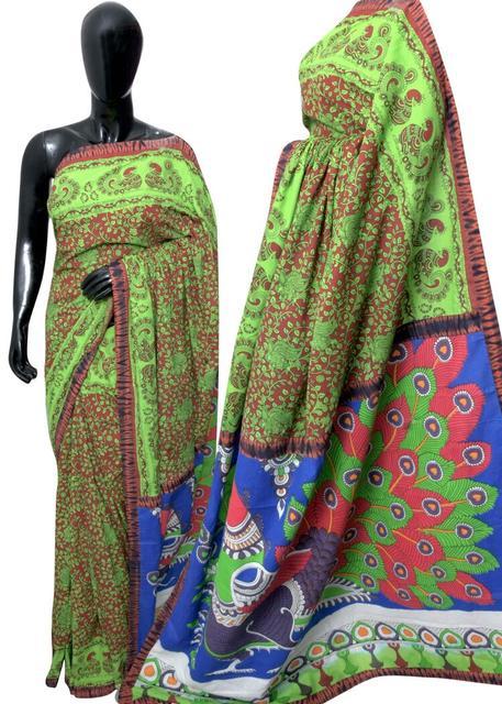 Blockprint Saree in Mal Cotton with Kalamkari Pallu & Istch Border- Floral Pattern Green