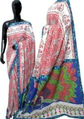 Blockprint Saree in Mal Cotton with Kalamkari Pallu & Istch Border- Floral Pattern Red&White