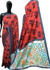 Blockprint Saree in Mal Cotton with Kalamkari Pallu & Istch Border- Dhol Pattern Red