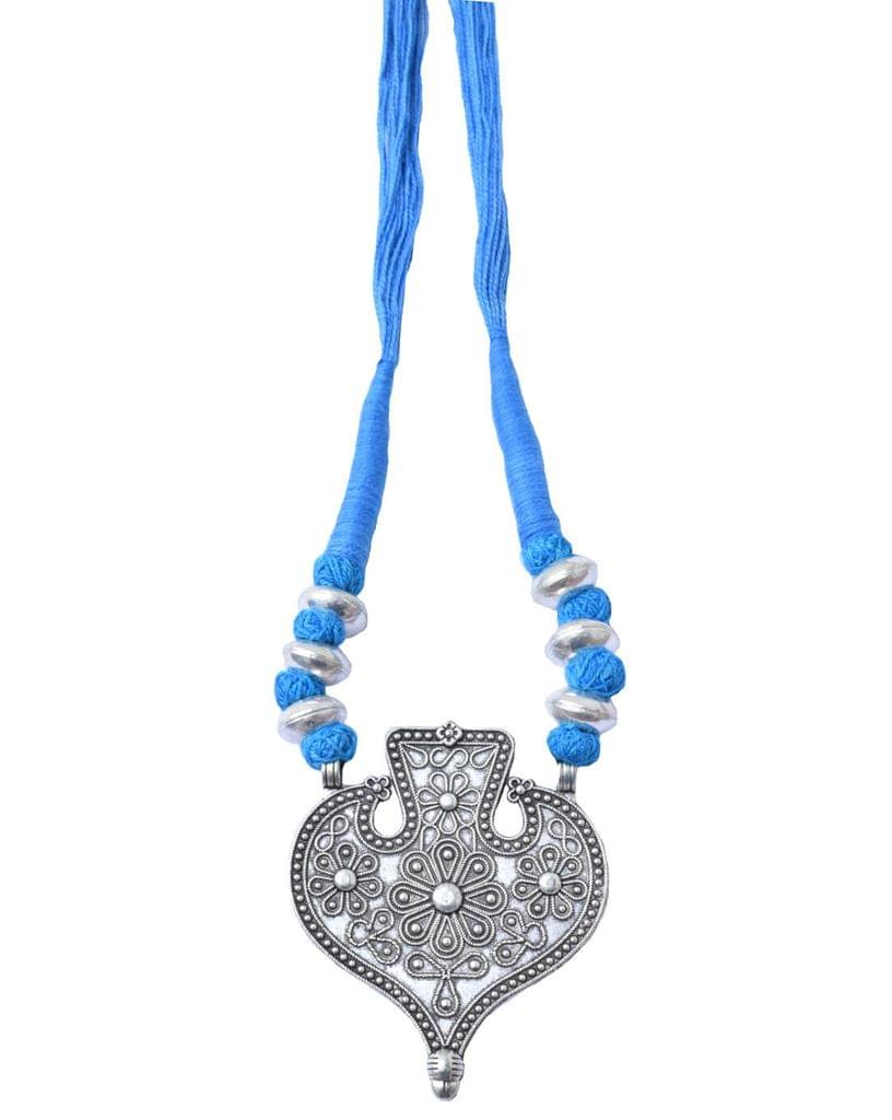Threaded German Silver Necklace Heart Shape Pendant-Turquoise 1