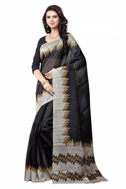 Cotton Silk Printed Saree- Black&Grey