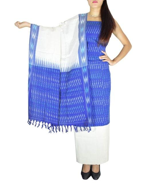 Handloom Cotton Ikat Salwar Suit-Blue&White