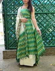 Handloom Cotton Ikat Salwar Suit-Multicolor