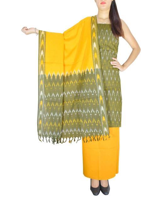 Handloom Cotton Ikat Salwar Suit-Mustard&Dark Mehendi Green