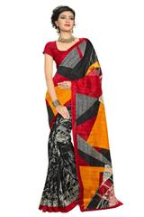 Cotton Silk Printed Saree- Multicolored