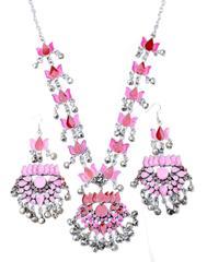 Afghani Necklace Set with Meenakari Work- Pink