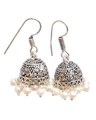 Oxidized Metal Jhumkas/Jhumkis-White Beads