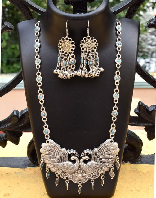 German Silver Jewellery Set- Peacock Pendant