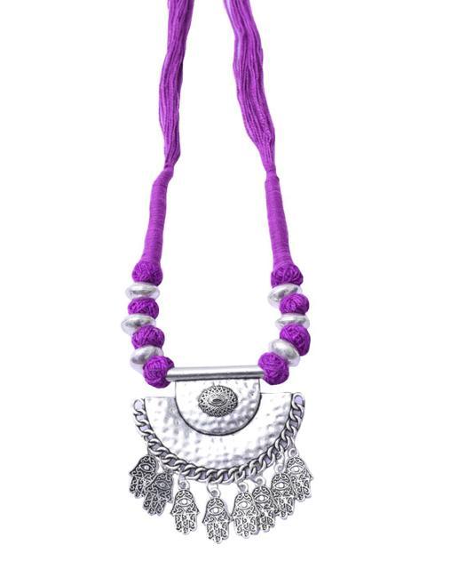 Threaded German Silver Necklace Pendant-Purple 1