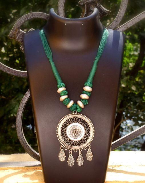 Threaded German Silver Necklace Round Shape Pendant-Dark Green