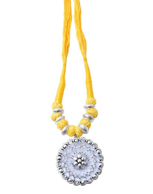 Threaded German Silver Necklace Round Shape Pendant-Yellow 1