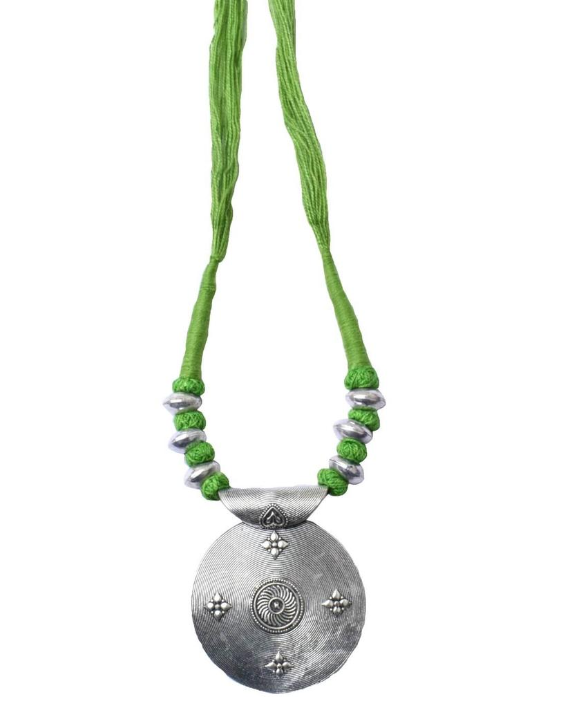 Threaded German Silver Necklace Round Shape Pendant-Green 3