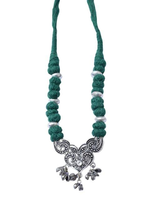 Threaded German Silver Pendant-Dark Green 1