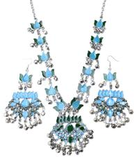 Afghani Necklace Set with Meenakari Work-Green&Turquoise