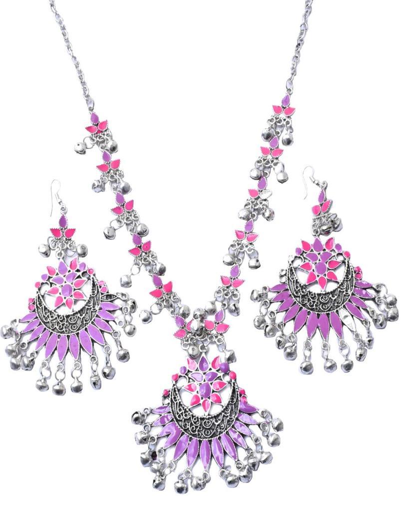 Afghani Necklace Set with Meenakari Work-Purple&Pink