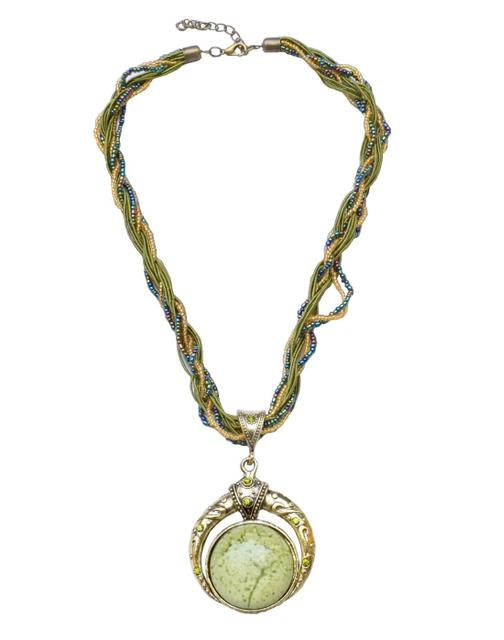 Thread & Bead Necklace with Alloy Metal Pendant- Green