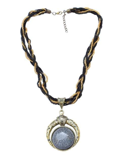Thread & Bead Necklace with Alloy Metal Pendant- Gray