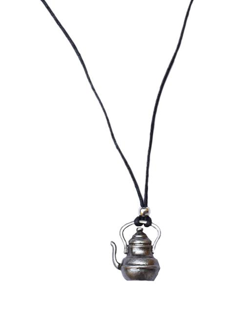 Oxidized Metal Thread Necklace with Kettle Pendant