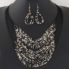 Multilayered Black Bead Set