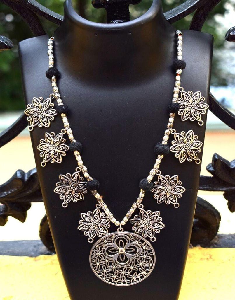German Silver Necklace- Flower Tassels