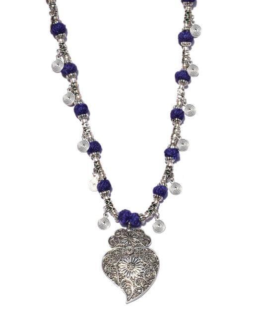 German Silver Necklace- Spiral Tassels