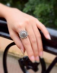 Finger Ring in Oxidized Metal- Round Motif 5