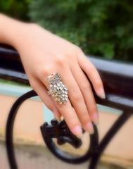Finger Ring in Oxidized Metal- Peacock Motif 2