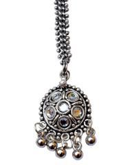 Oxidized Metal Maang Tikka- White Beads