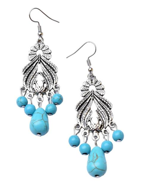 Turquoise & Silver Alloy Danglers