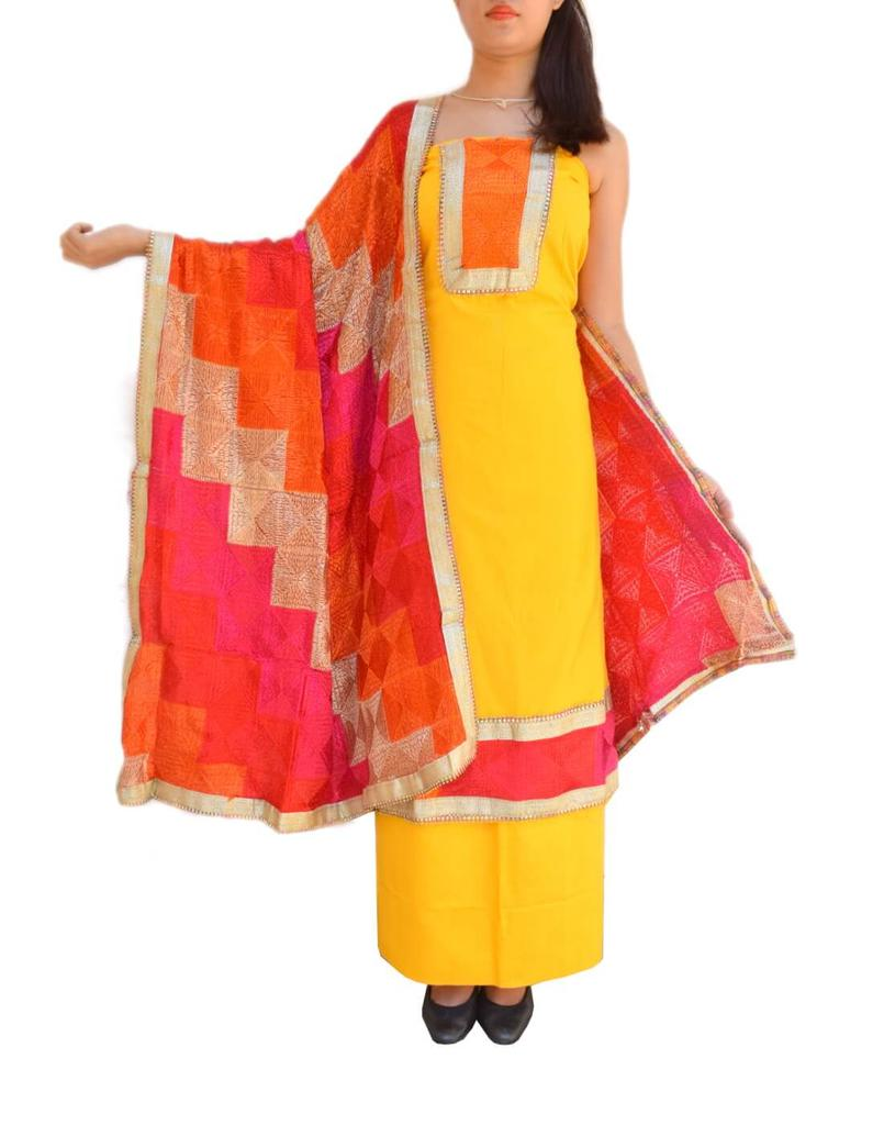 Handembroidered Phulkari Suit in Cotton Silk- Yellow