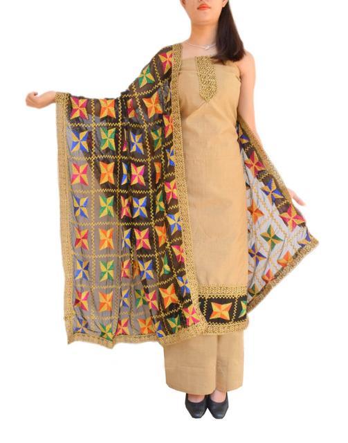Phulkari Handembroidered Suit in Chanderi Cotton Silk- Black&Beige