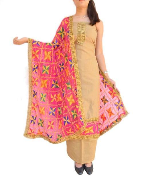 Phulkari Handembroidered Suit in Chanderi Cotton Silk- Beige&Pink