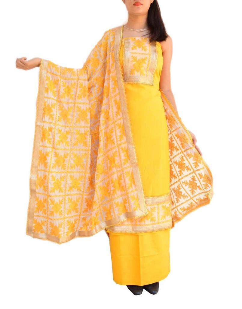 Handembroidered Phulkari Suit in Cotton Silk- Yellow&White