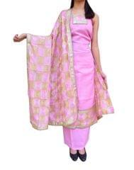 Handembroidered Phulkari Suit in Cotton Silk- Baby Pink&Beige