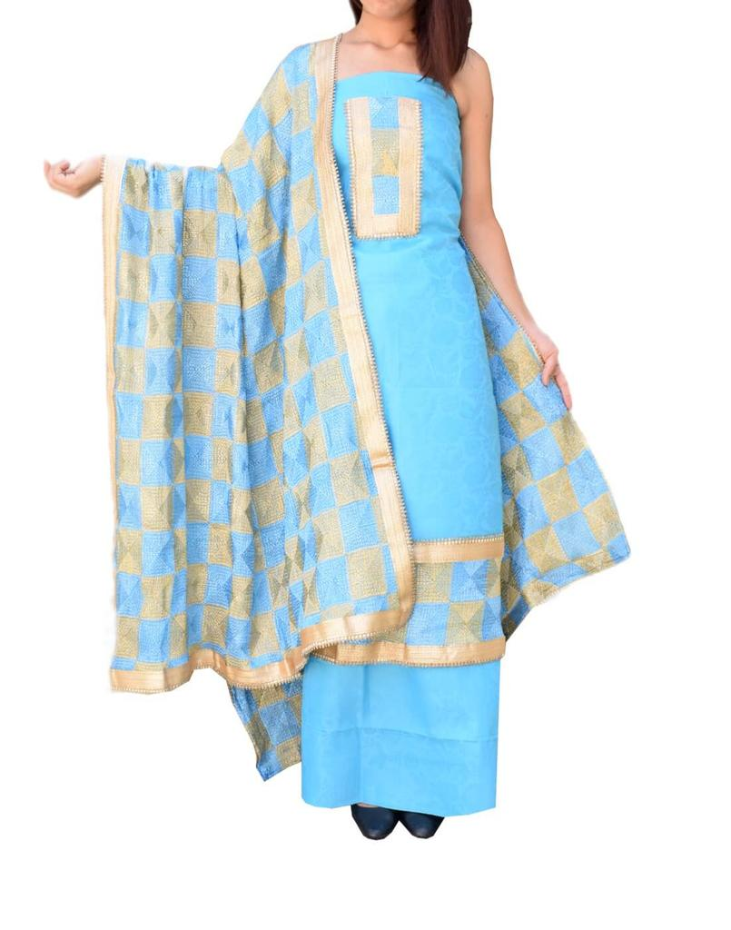 Handembroidered Phulkari Suit in Cotton Silk- Turquoise&Beige