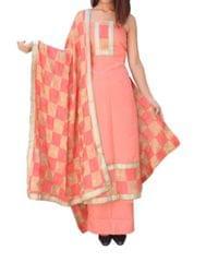 Handembroidered Phulkari Suit in Cotton Silk- Peach&Beige