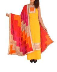 Handembroidered Phulkari Suit in Cotton Silk-Yellow 1
