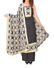 Handembroidered Phulkari Suit in Cotton Silk-Black&Cream