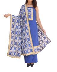 Handembroidered Phulkari Suit in Cotton Silk-Blue&White