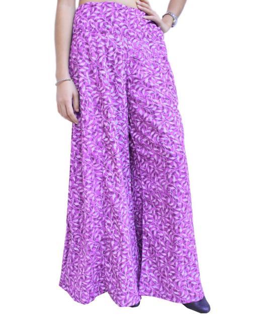 Cotton Hand Block Print Pakistani Palazzo Pants-Purple