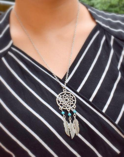 Alloy Metal Necklace with Feather&Bead Tassel Pendant