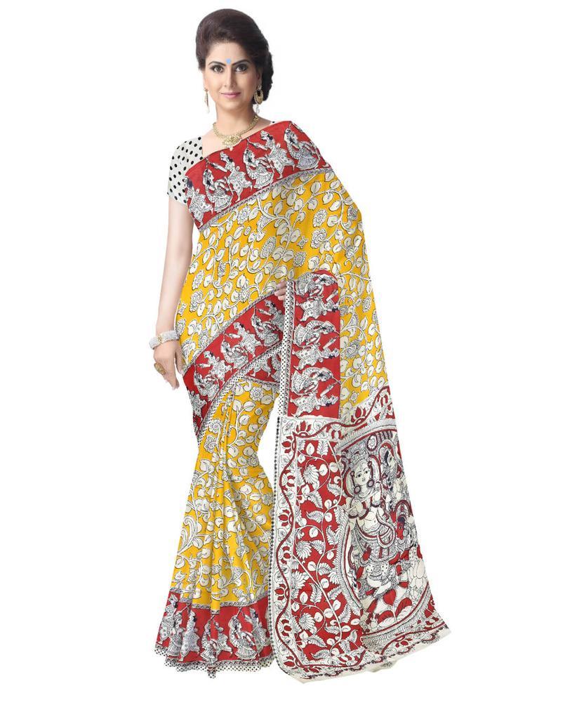Kalamkari Silk Saree  -Yellow&Red
