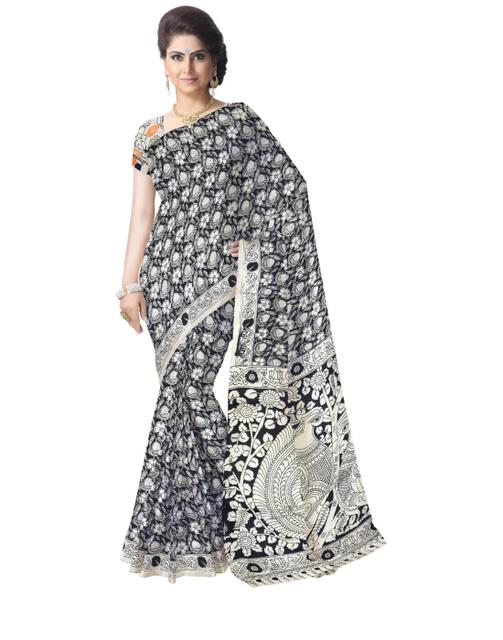 Kalamkari Silk Saree  -Black&White 1